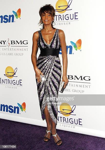 Singer Whitney Houston arrives to the 'Clive Davis PreGrammy Party' at the Beverly Hilton Hotel on February 9 2008 in Beverly Hills California