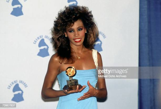 Singer Whitney Houston at Grammy Awards in February 1986 in Los Angeles California
