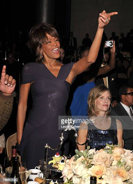 Singer Whitney Houston during the 2008 Clive Davis PreGRAMMY party at the Beverly Hilton Hotel on February 9 2008 in Los Angeles California