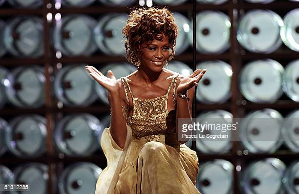 Singer Whitney Houston is seen performing on stage during the 2004 World Music Awards at the Thomas and Mack Center on September 15 2004 in Las Vegas...