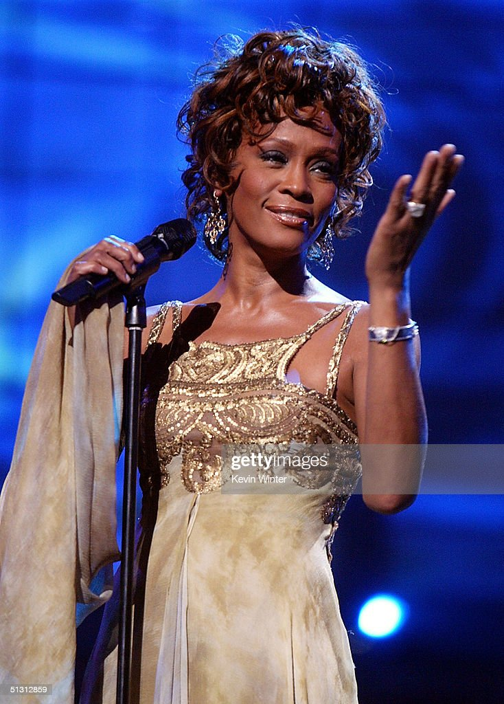 Singer <a gi-track='captionPersonalityLinkClicked' href=/galleries/search?phrase=Whitney+Houston&family=editorial&specificpeople=201541 ng-click='$event.stopPropagation()'>Whitney Houston</a> is seen performing on stage during the 2004 World Music Awards at the Thomas and Mack Center on September 15, 2004 in Las Vegas, Nevada.