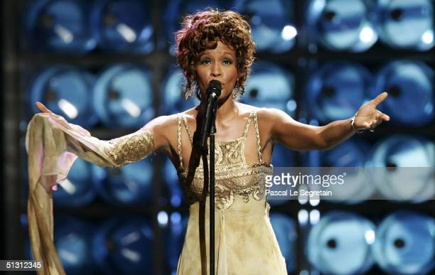 Singer Whitney Houston performs during the 2004 World Music Awards at the Thomas and Mack Center on September 15 2004 in Las Vegas Nevada