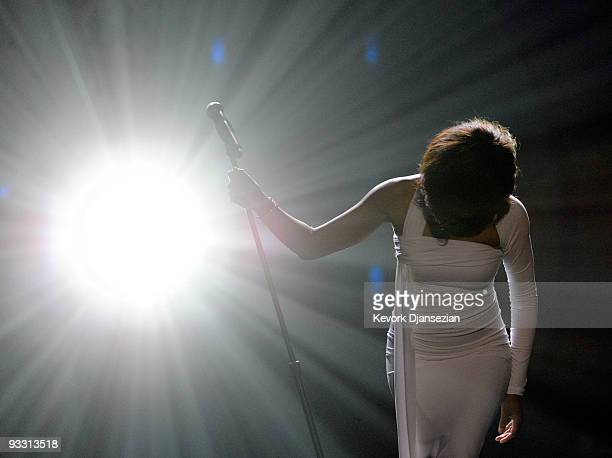Singer Whitney Houston performs onstage at the 2009 American Music Awards at Nokia Theatre LA Live on November 22 2009 in Los Angeles California