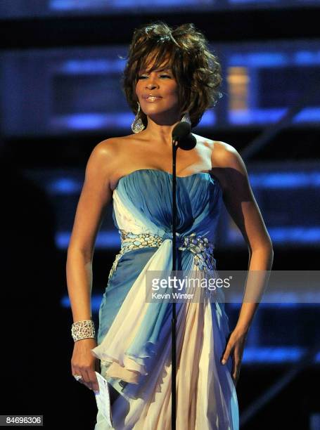 Singer Whitney Houston speaks onstage during the 51st Annual Grammy Awards held at the Staples Center on February 8 2009 in Los Angeles California