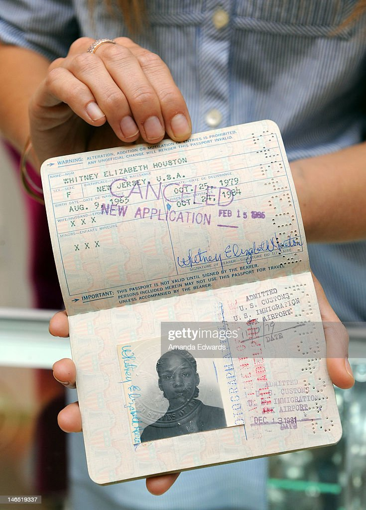Singer <a gi-track='captionPersonalityLinkClicked' href=/galleries/search?phrase=Whitney+Houston&family=editorial&specificpeople=201541 ng-click='$event.stopPropagation()'>Whitney Houston</a>'s passport is displayed at the Julien's Auctions press call for Music Icons And Sports Legends Memorabilia Auction at Julien's Auctions Gallery on June 18, 2012 in Beverly Hills, California.