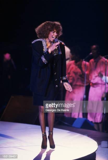 Singer Whitney Huston performs in London on October 19 1986