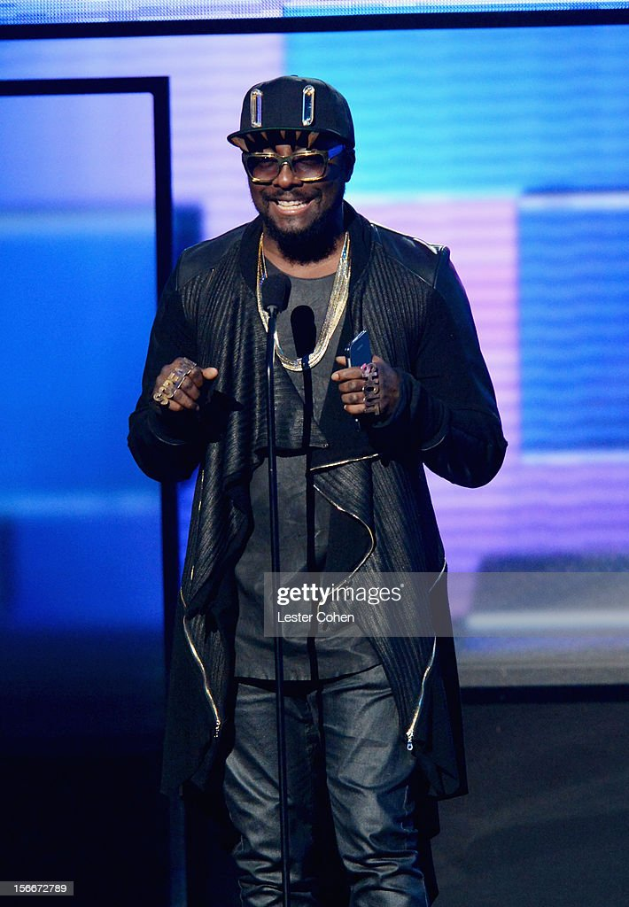 Singer wiill.i.am speaks onstage during the 40th Anniversary American Music Awards held at Nokia Theatre L.A. Live on November 18, 2012 in Los Angeles, California.