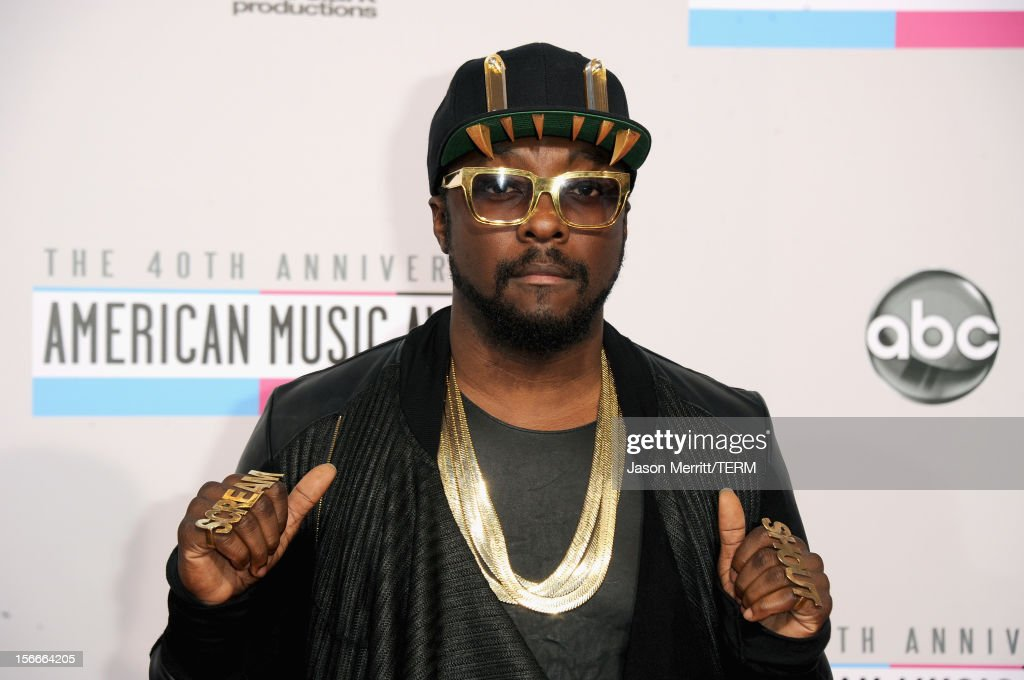 Singer will.i.am attends the 40th American Music Awards held at Nokia Theatre L.A. Live on November 18, 2012 in Los Angeles, California.