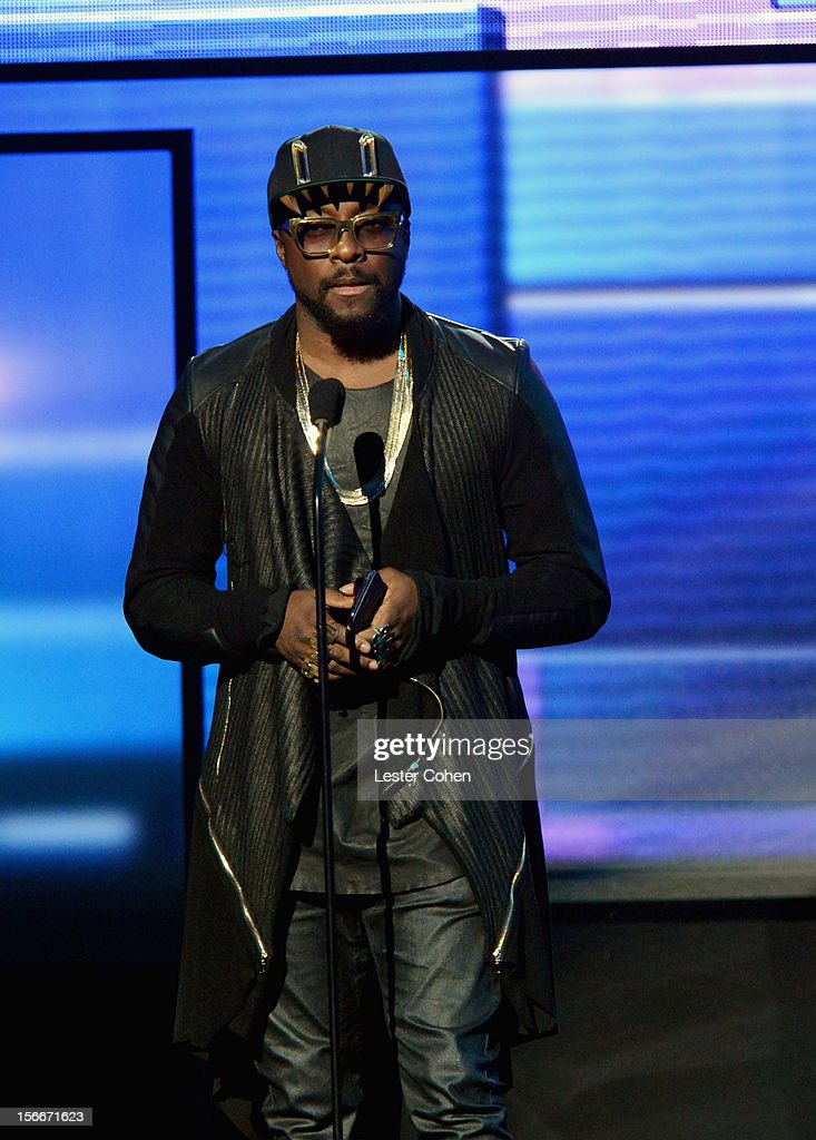 Singer will.i.am speaks onstage during the 40th Anniversary American Music Awards held at Nokia Theatre L.A. Live on November 18, 2012 in Los Angeles, California.