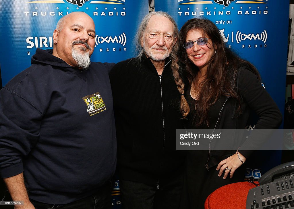 "Singer Willie Nelson (C) stops by ""Freewheelin' with Meredith Ochs and Chris T."" on SiriusXM's Road Dog Trucking Radio at the SiriusXM Studios on November 20, 2012 in New York City."