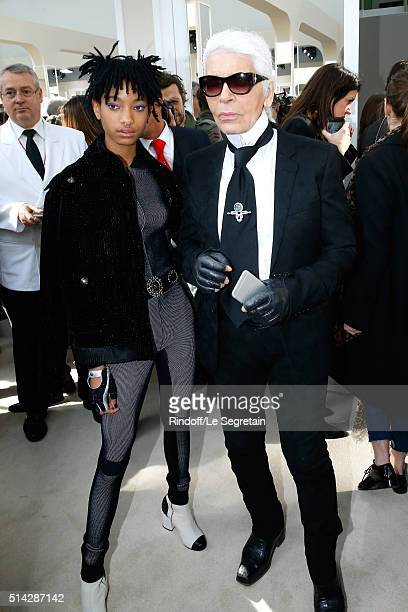 Singer Willow Smith and designer Karl Lagerfeld attend the Chanel show as part of the Paris Fashion Week Womenswear Fall/Winter 2016/2017 on March 8...