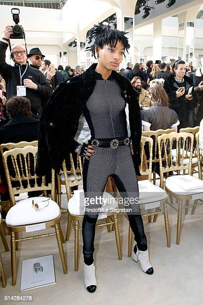 Singer Willow Smith attends the Chanel show as part of the Paris Fashion Week Womenswear Fall/Winter 2016/2017 on March 8 2016 in Paris France