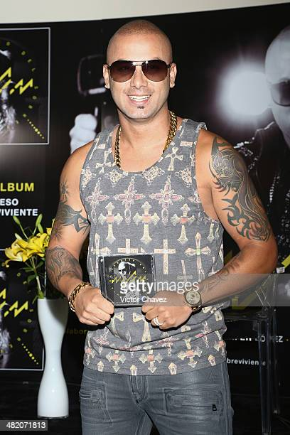 Singer Wisin attends a press conference and photo call to promote his new album 'El Regreso Del Sobreviviente' at W Hotel Mexico City on April 2 2014...