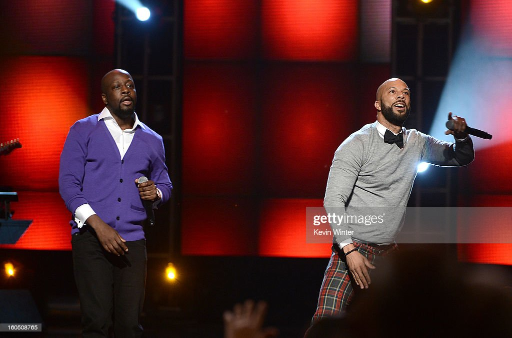 Singer Wyclef Jean and rapper Common perform onstage during the 44th NAACP Image Awards at The Shrine Auditorium on February 1, 2013 in Los Angeles, California.