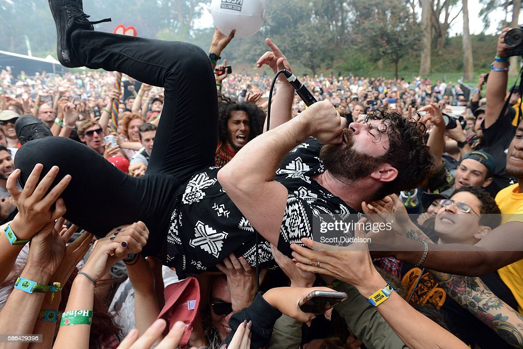 Singer Yannis Philippakis of the band Foals crowd surfs during Outside Lands Festival at Golden Gate Park on August 5 2016 in San Francisco California