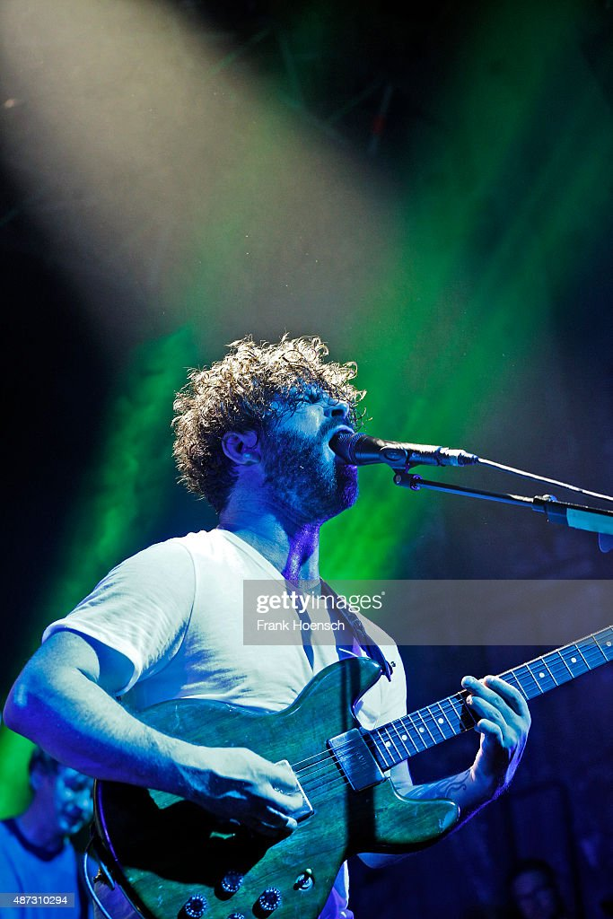 Singer Yannis Philippakis of the British band Foals performs live during a concert at the Kesselhaus on September 8 2015 in Berlin Germany