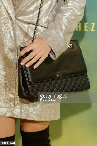 Singer Yara Puebla handbag detail attends the 'La Zona' premiere at Capitol cinema on October 25 2017 in Madrid Spain