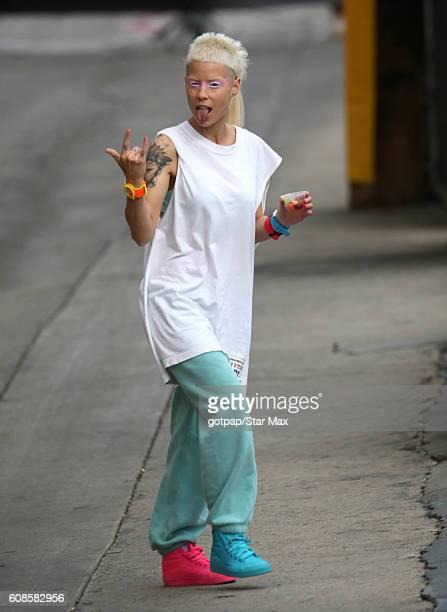 Singer Yolandi Visser of 'Die Antwoord' is seen on September 19 2016 at Jimmy Kimmel Live in Los Angeles California