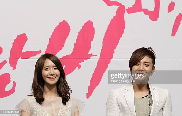 Singer Yoona of Girls Generation and actor Jang KeunSuk attend the KBS Drama 'Love Rain' Press Conference at Lotte hotel on March 22 2012 in Seoul...