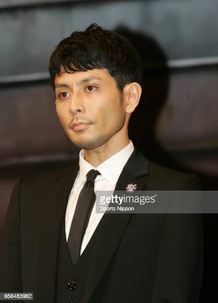 Singer Yoshikuni Dochin of Chemistry attends preview screening of film 'Manatsu no Orion' on May 12 2009 in Tokyo Japan
