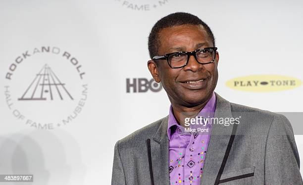 Singer Youssou N'Dour attends the 29th Annual Rock And Roll Hall Of Fame Induction Ceremony at Barclays Center on April 10 2014 in the Brooklyn...