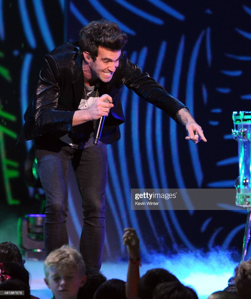 Singer Zac Barnett of American Authors performs onstage during Nickelodeon's 27th Annual Kids' Choice Awards held at USC Galen Center on March 29, 2014 in Los Angeles, California.