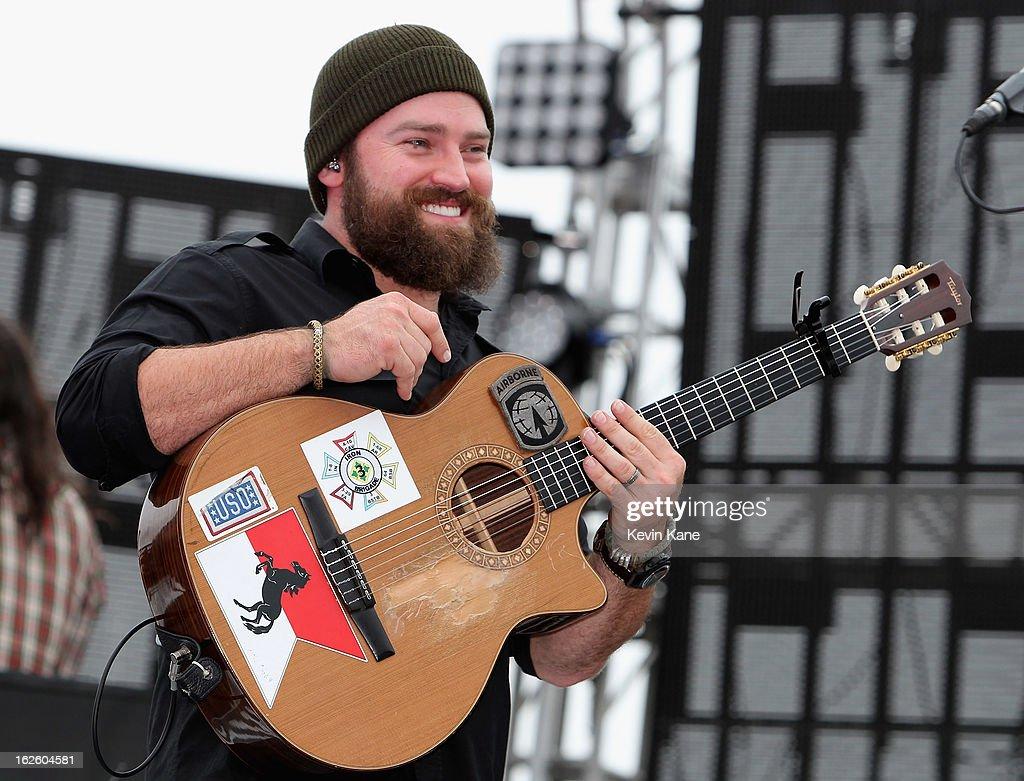 Singer, Zac Brown, performs prior to the start of the Daytona 500 at Daytona International Speedway on February 24, 2013 in Daytona Beach, Florida.