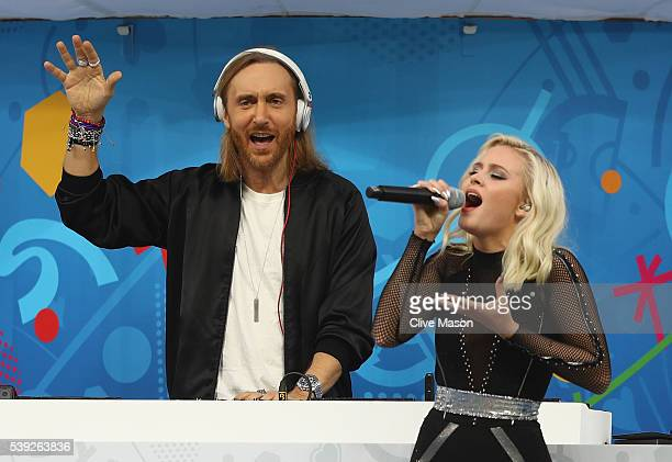 Singer Zara Larsson and DJ David Guetta perform during the opening ceremony prior to the UEFA Euro 2016 Group A match between France and Romania at...