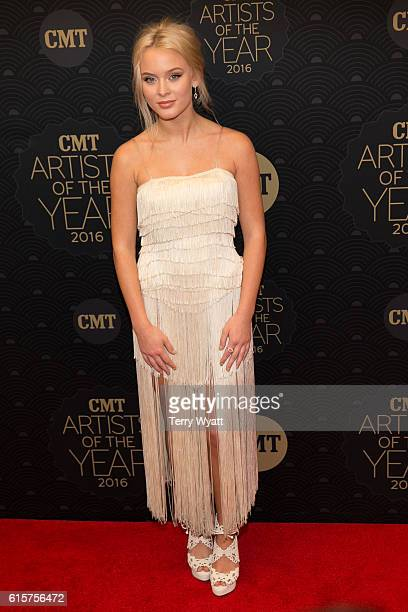 Singer Zara Larsson arrives on the red carpet at CMT Artists of the Year 2016 on October 19 2016 in Nashville Tennessee