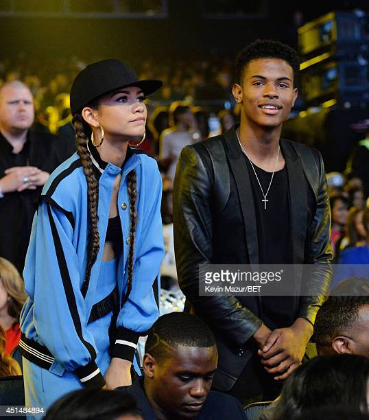 Singer Zendaya and Trevor Jackson attend the BET AWARDS '14 at Nokia Theatre LA LIVE on June 29 2014 in Los Angeles California