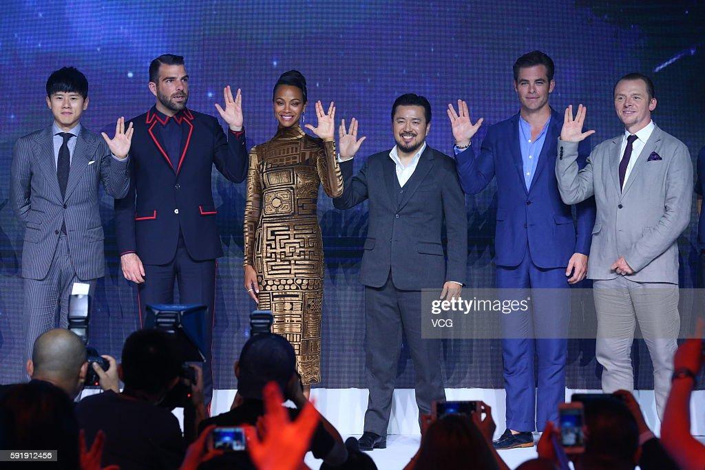 Singer Zhang Jie actors Zachary Quinto Zoe Saldana director Justin Lin Chris Pine and Simon Pegg attend 'Star Trek Beyond' press conference at Indigo...