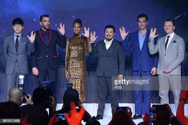 Singer Zhang Jie actors Zachary Quinto Zoe Saldana director Justin Lin Chris Pine and Simon Pegg attend 'Star Trek Beyond' press conference at Indigo...