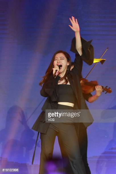 Singer Zhang Liangying performs during the 2017 NetEase Entertainment Ceremony on July 19 2017 in Beijing China