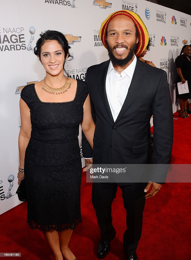 Singer Ziggy Marley and wife Orly Marley attend the 44th NAACP Image Awards at The Shrine Auditorium on February 1 2013 in Los Angeles California