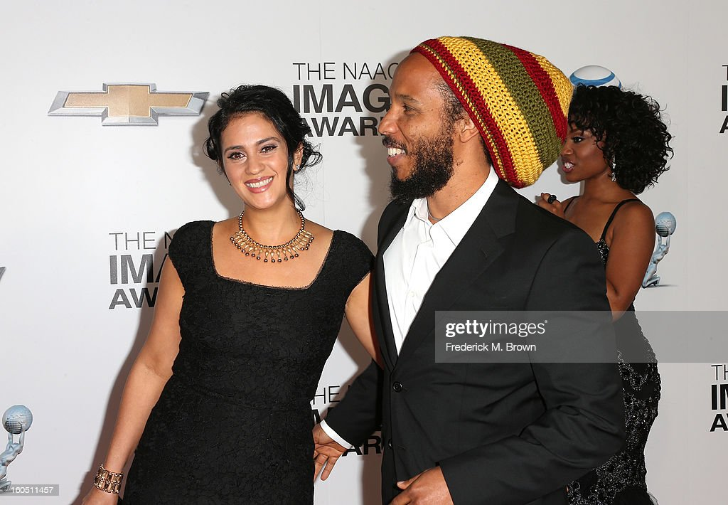 Singer Ziggy Marley (R) and wife Orly Marley attend the 44th NAACP Image Awards at The Shrine Auditorium on February 1, 2013 in Los Angeles, California.