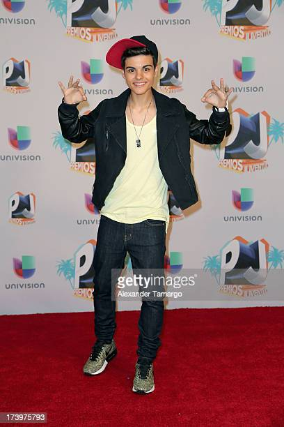 Singeractor Abraham Mateo poses in the press room during the Premios Juventud 2013 at Bank United Center on July 18 2013 in Miami Florida
