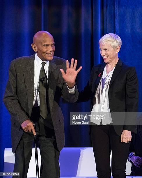 Singer/actor Harry Belafonte and singersongwriter Annie Lennox attend Amnesty International USA's 50th Annual Gathering at New York Marriott Brooklyn...