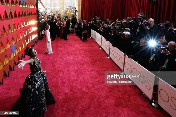 Singer/actor Janelle Monae and actor Isabelle Huppert attend the 89th Annual Academy Awards at Hollywood Highland Center on February 26 2017 in...