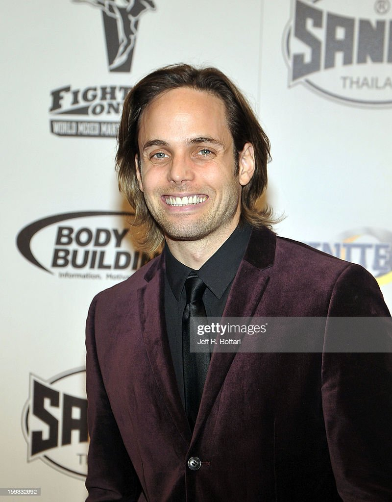 Singer/actor Justin Mortelliti from Rock of Ages arrives at the Fighters Only World Mixed Martial Arts Awards at the Hard Rock Hotel & Casino on January 11, 2013 in Las Vegas, Nevada.