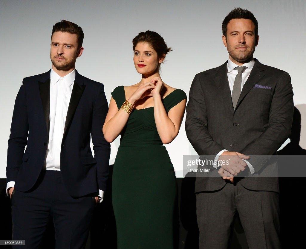Singer/actor Justin Timberlake actress Gemma Arterton and actor/director Ben Affleck introduce the world premiere of Twentieth Century Fox and New...