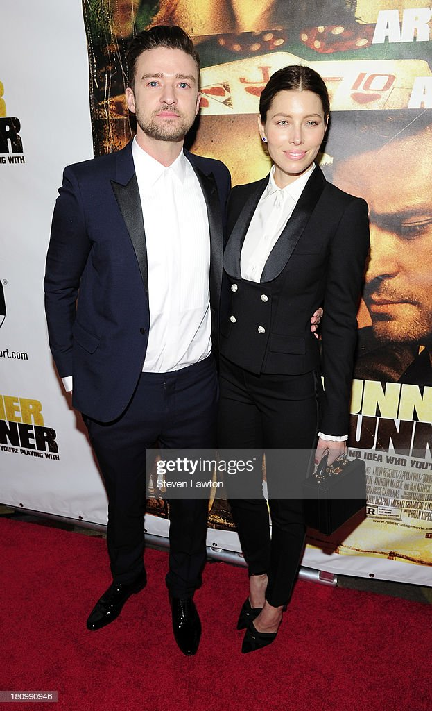 Singer/actor Justin Timberlake and actress Jessica Biel arrive at the world premiere of Twentieth Century Fox and New Regency's film 'Runner Runner'...
