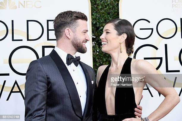 Singer/actor Justin Timberlake and actress Jessica Biel attend the 74th Annual Golden Globe Awards at The Beverly Hilton Hotel on January 8 2017 in...