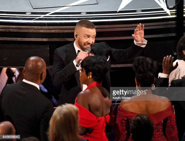 Singer/actor Justin Timberlake performs onstage during the 89th Annual Academy Awards at Hollywood Highland Center on February 26 2017 in Hollywood...