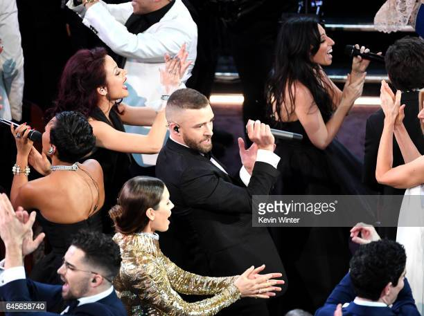 Singer/actor Justin Timberlake performs with actor Jessica Biel onstage during the 89th Annual Academy Awards at Hollywood Highland Center on...