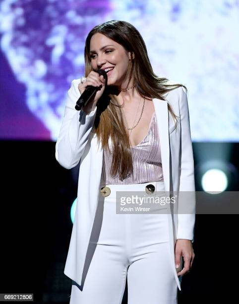 Singer/actor Katharine McPhee performs onstage during 'Stayin' Alive A GRAMMY Salute To The Music Of The Bee Gees' on February 14 2017 in Los Angeles...