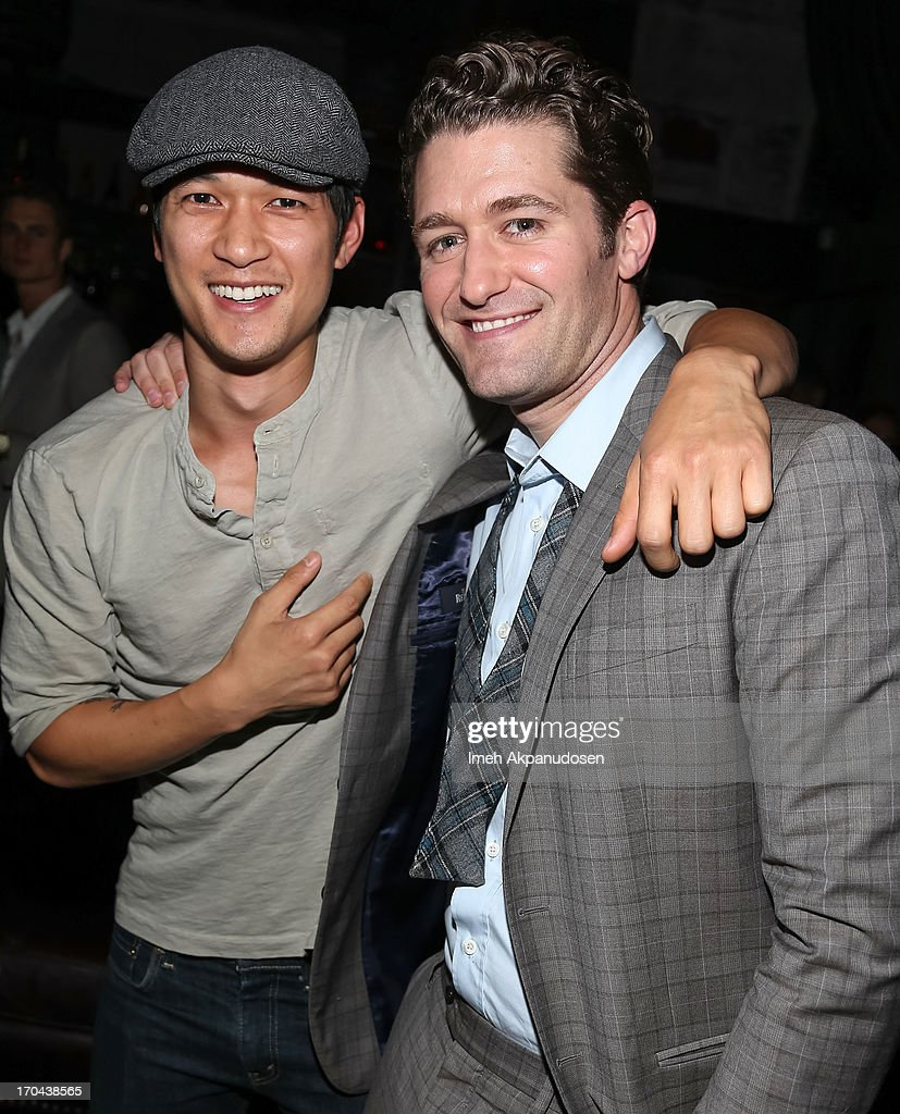 Singer/actor Matthew Morrison (R) and actor Harry Shum Jr. attend Matthew Morrison's performance at The Sayers Club on June 12, 2013 in Hollywood, California.