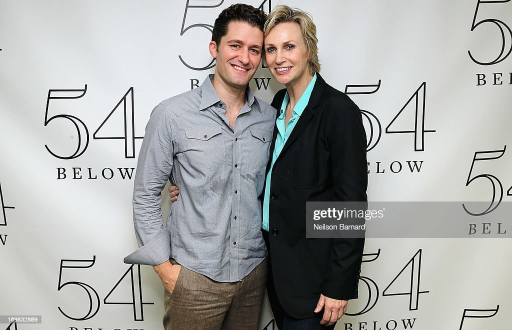 Singer/actor Matthew Morrison and actress Jane Lynch pose together after Mathew Morrison's performance at 54 Below celebrating his new album 'Where...