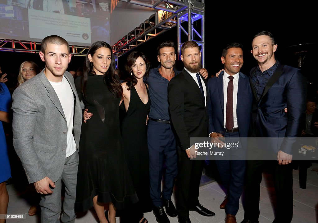 Singer/actor Nick Jonas actors Natalie Martinez Joanna Going Frank Grillo Matt Lauria Mark Consuelos and Jonathan Tucker celebrate the season...