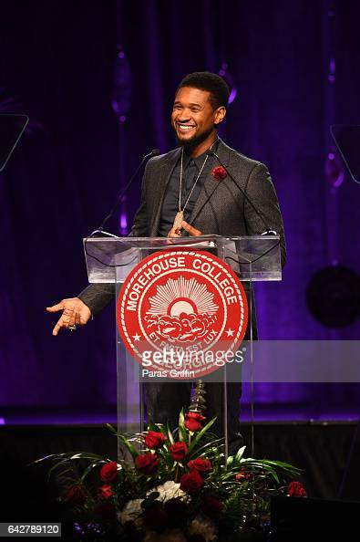 Singer/actor Usher Raymond onstage at Morehouse College 150th Anniversary 29th Annual 'A Candle In The Dark' Gala at The Hyatt Regency Atlanta on...