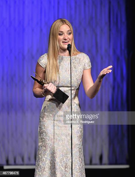 Singer/actress AJ Michalka speaks on stage at the 22nd Annual Movieguide Awards Gala at the Universal Hilton Hotel on February 7 2014 in Universal...